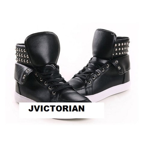 Trendy Men's High Top Shoes With Pure Color Lace-U
