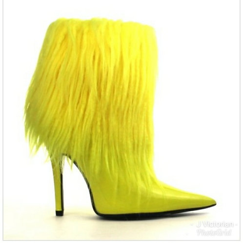 Yellow Fur Boots