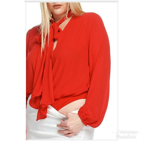 Plus Red Ribbon Tie Blouse
