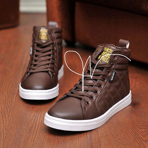 Geometric Leather Spring Brand Designer Men Sneake