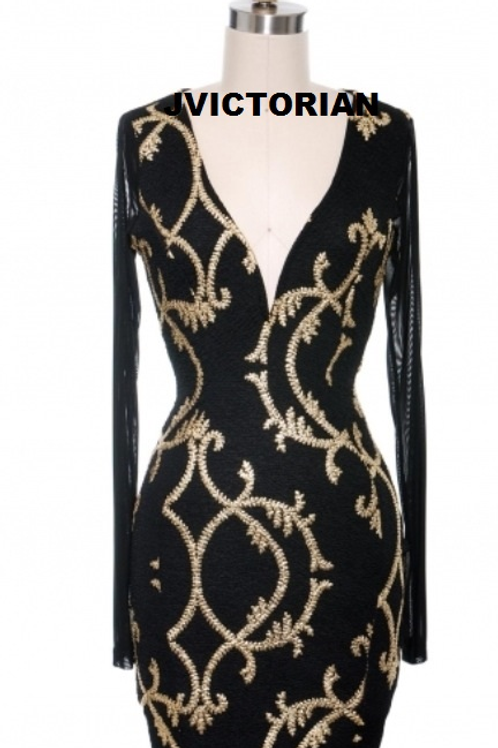 BLACK AND GOLD DESIGN DRESS