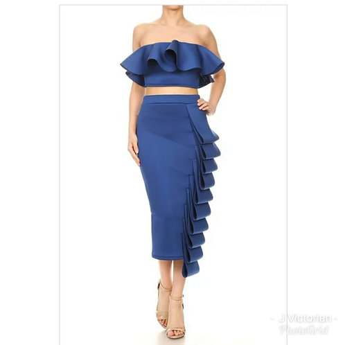Blue Ruffled Two Piece Dress