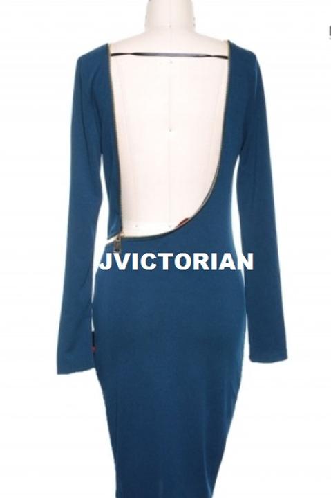 Zippered Blue Dress