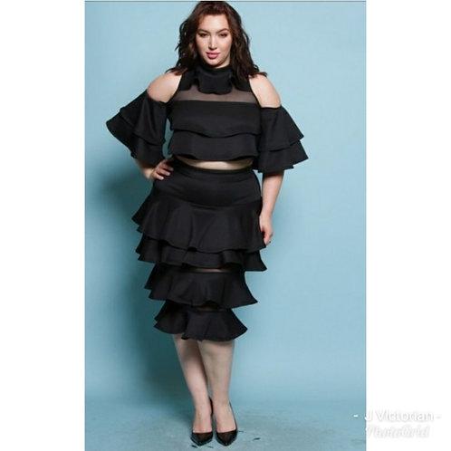 Black Two Piece Plus Skirt Set