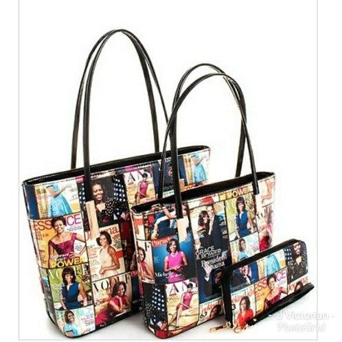 Michelle Obama Magazine 3 pcs Handbag