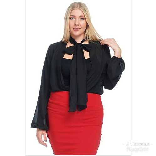 Plus Black Ribbon Tie Blouse