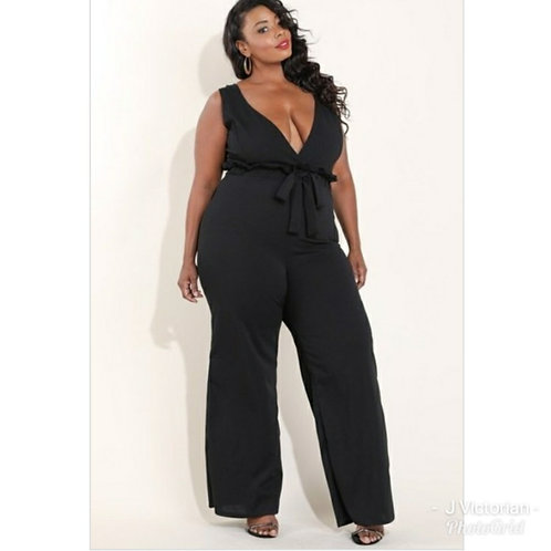 Black Low Cut Jumpsuit