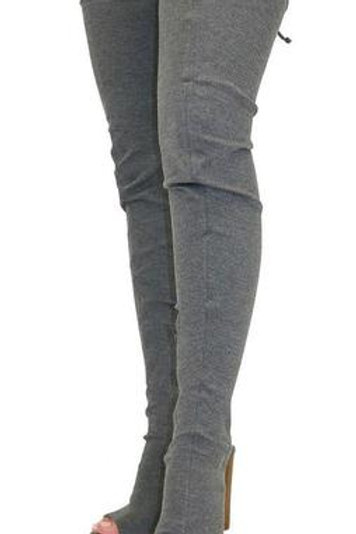 Sage Grey Thigh Boots