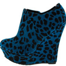 Blue Leopard Wedges