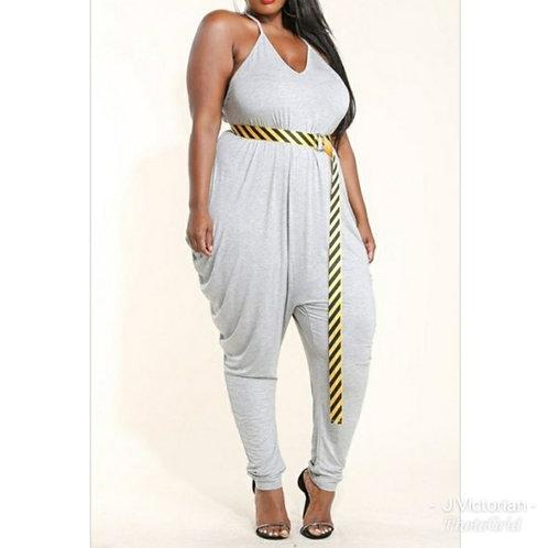 Grey Plus Jumpsuit Monica