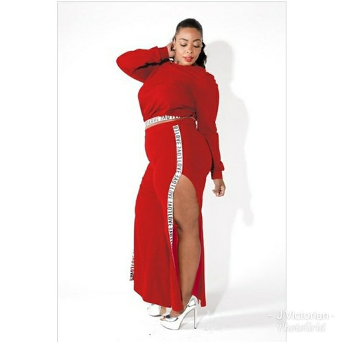 Red Laced Plus Jumpsuit