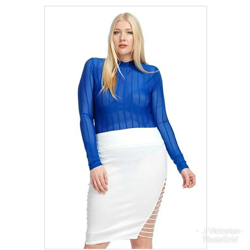 Plus Royal Blue See-Thru Blouse
