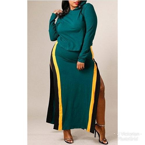 Green Hoodie Plus Dress