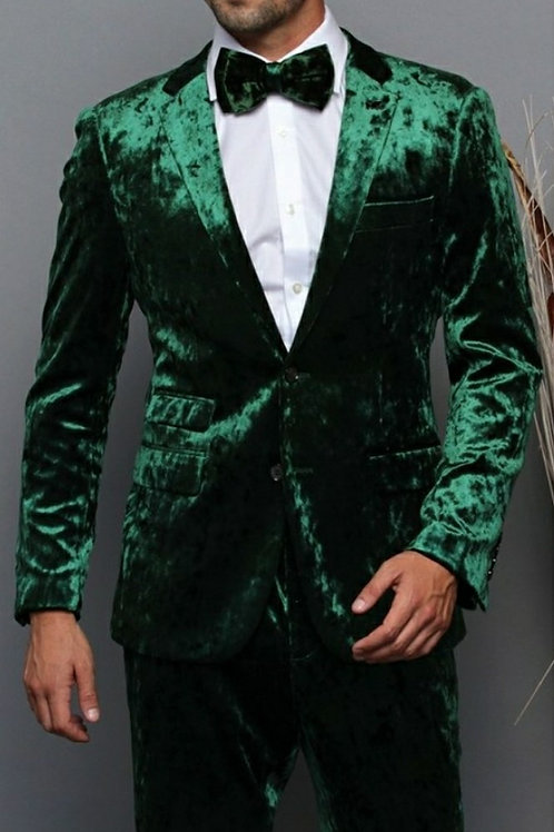 Green Suede Three Piece Men's Suit