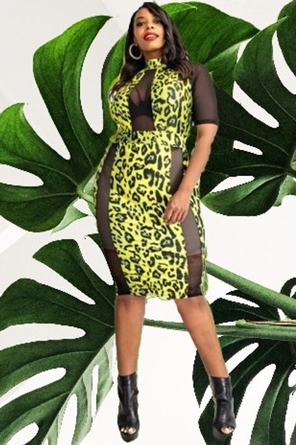 Lime Animal Print Plus Dress