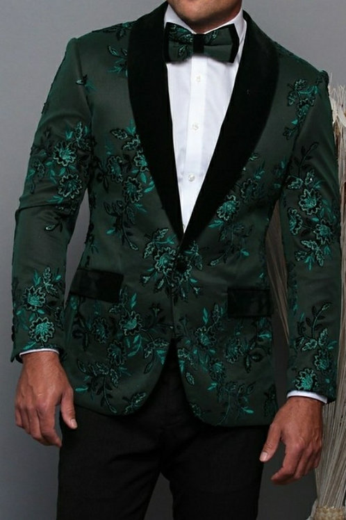 Green Printed Men's Blazer matching Bow tie
