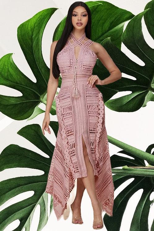 Mauve Crochet Dress with Jagged Edge