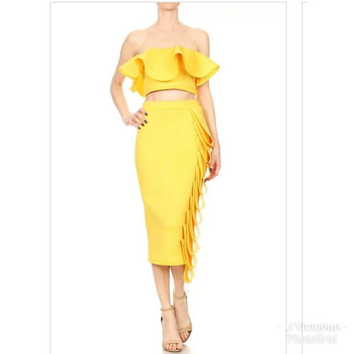Yellow Ruffled Two Piece Dress