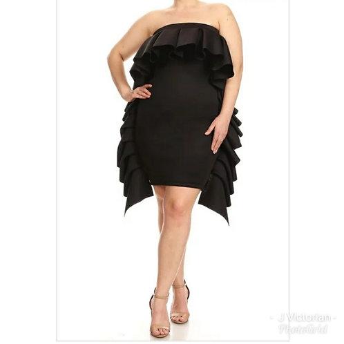 Black Side Ruffles Plus Dress