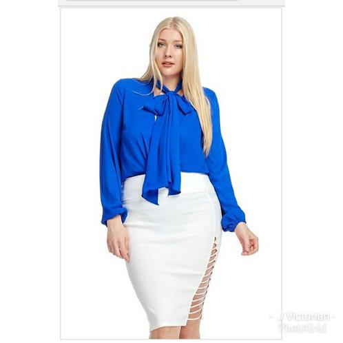 Plus Royal Blue Ribbon Tie Blouse
