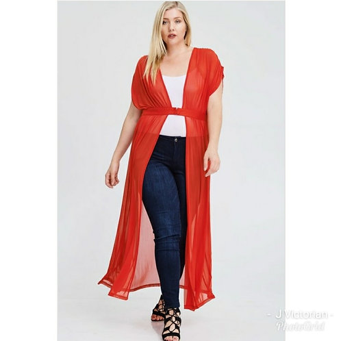 Sheer Cardigan (red)