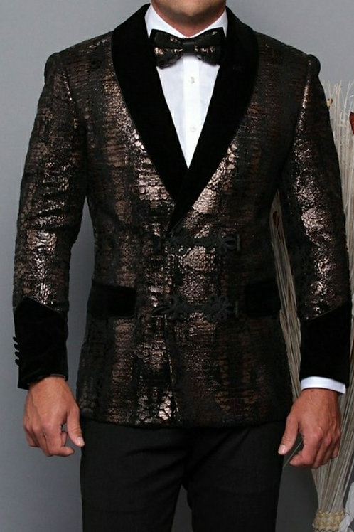 Too Jazzy Printed Men's Blazer with bow tie