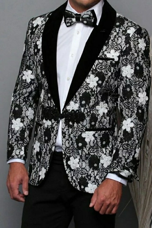 Black & White Floral Men's Blazer matching bow tie
