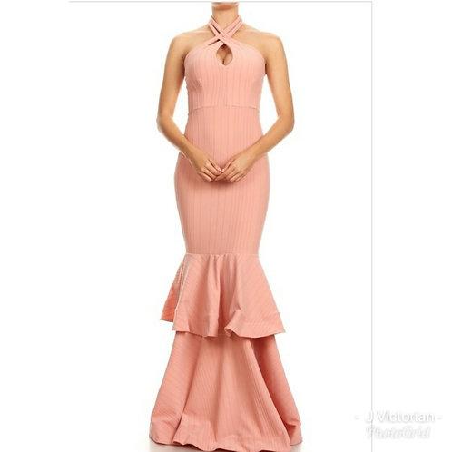 Peach Color Long Dress