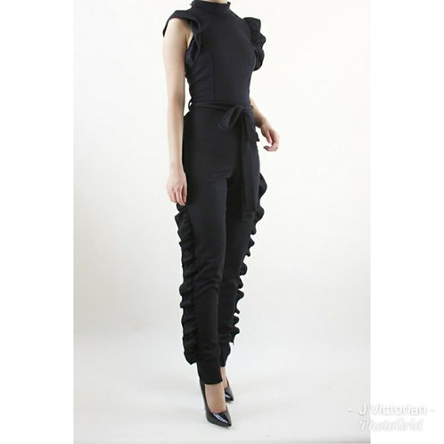 Black Ruffled Jumpsuit
