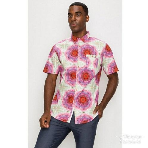 Button Down Swirl Print Shirt