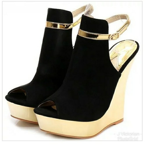 Black & Gold Wedge Shoes