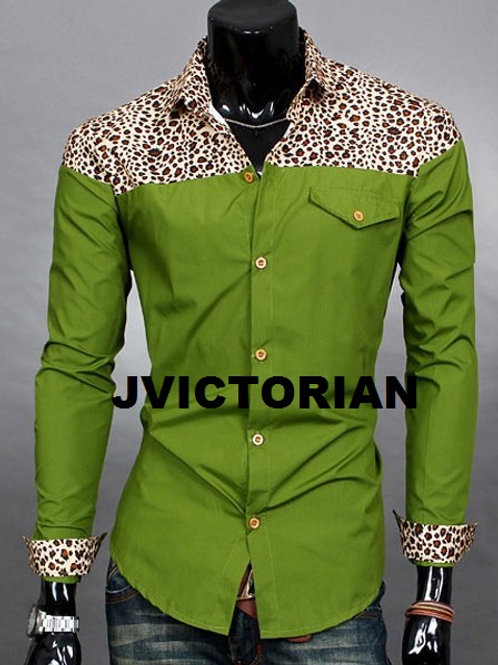 Leopard Print Design Button Down Shirt
