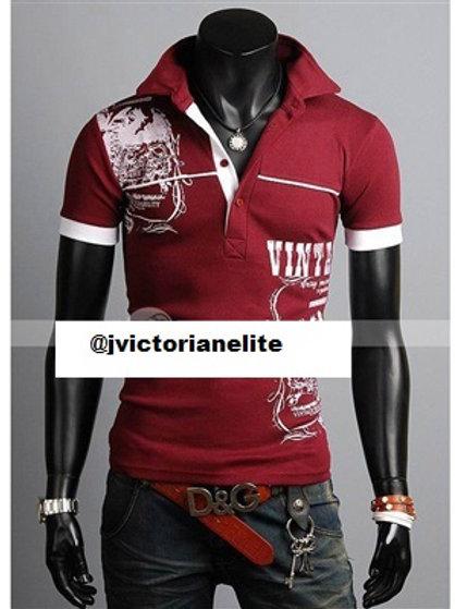 Totem Pattern Cotton Blend Turndown Collar Short