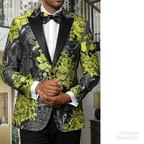 Light Green Men's Blazer with Bow Tie