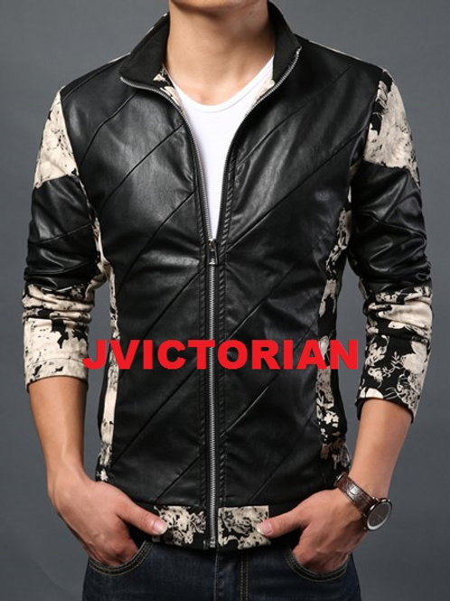 Colorful Print Faux Leather Men's Jacket