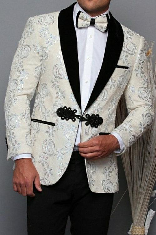 Black & White Men's Blazer matching Bow tie