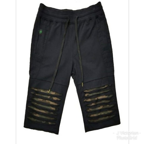 Black Army Ripped Shorts
