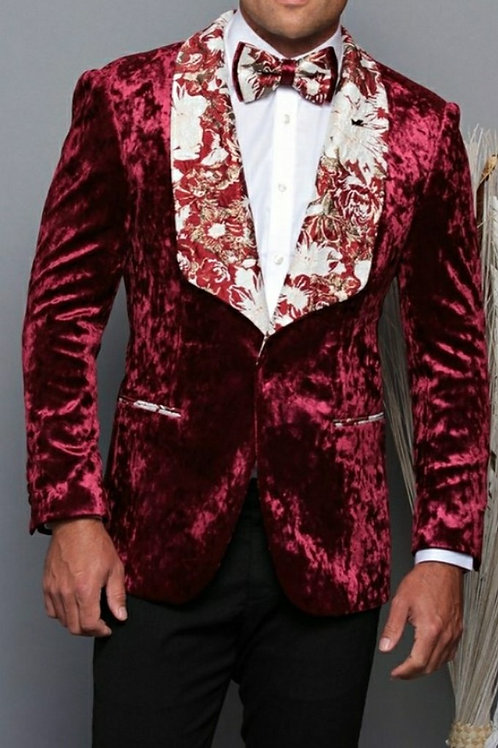 Burgundy Suede Men's Blazer with matching Bow Tie
