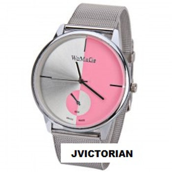 WoMaGe Quartz Watch with Strips Indicate Steel Wat