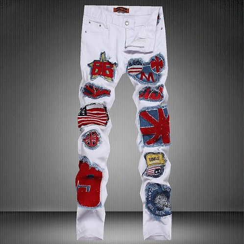 Men's Patchwork White Jeans