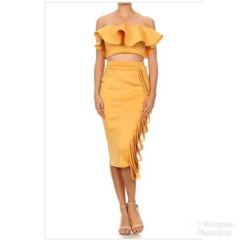 Gold Ruffled Two Piece Dress