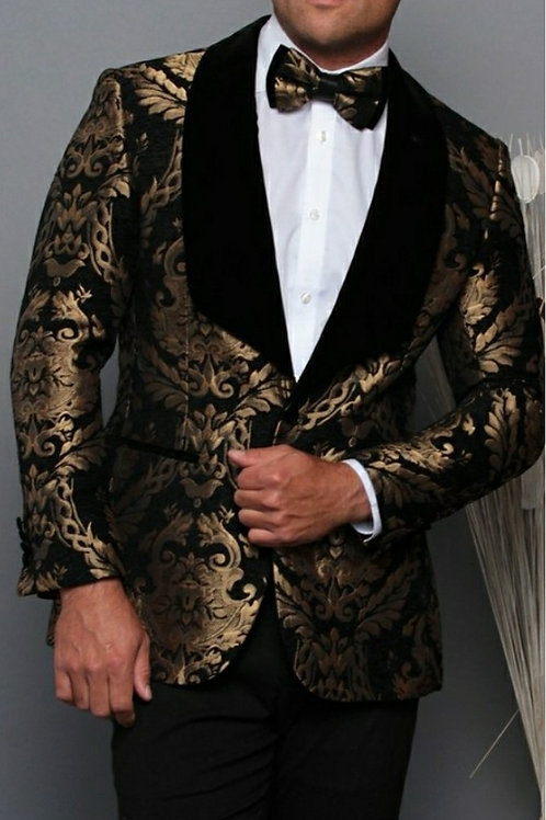 Gold Print Men's Blazer with matching Bow Tie