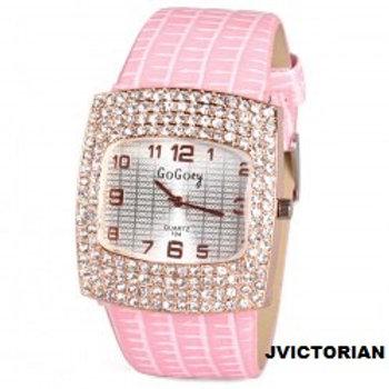 Stylish Quartz Watch with Diamonds Analog