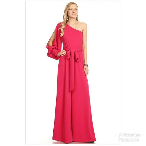 One Sleeve Red Jumpsuit