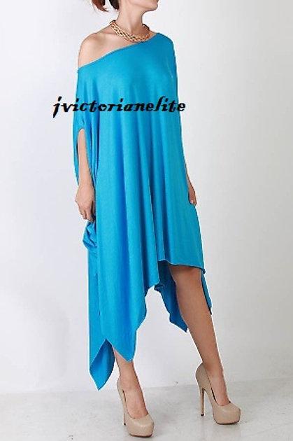 Aqua Blue Drape Dress