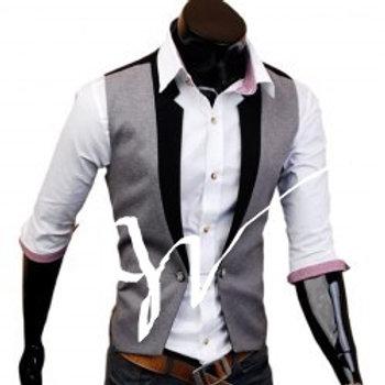 Fashion Style V-Neck Faux Twinset Polyester Vest