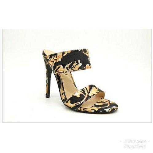 Gold & Black Print Heels 2