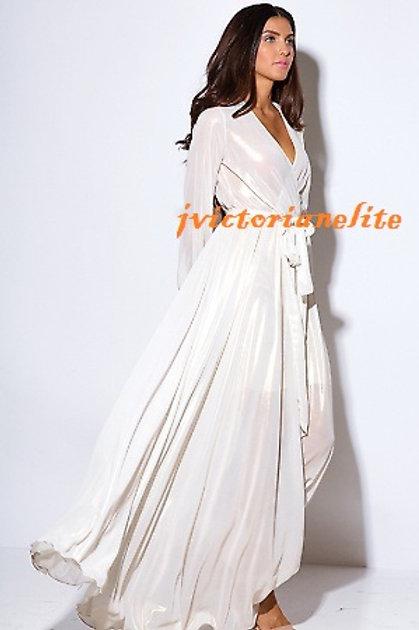 Metallic White Maxi Dress