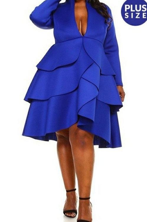 Blue Low-Neck Plus Dress
