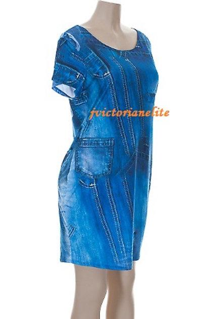 Blue Denim Plus Dress